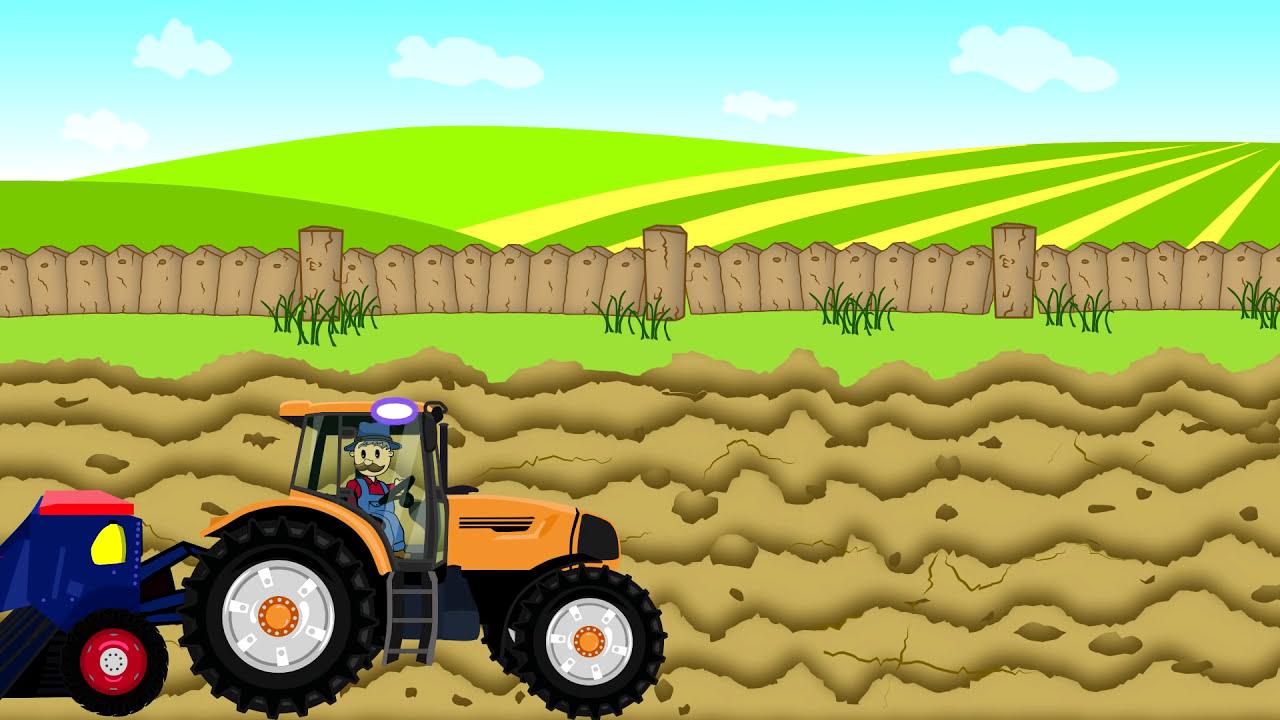 Tractor Cartoon Picker : Farmer farm work combine harvester kombajn traktor