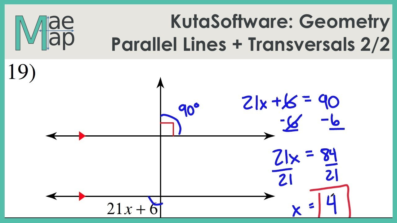 Kutasoftware Geometry Parallel Lines And Transversals Part 2 Youtube