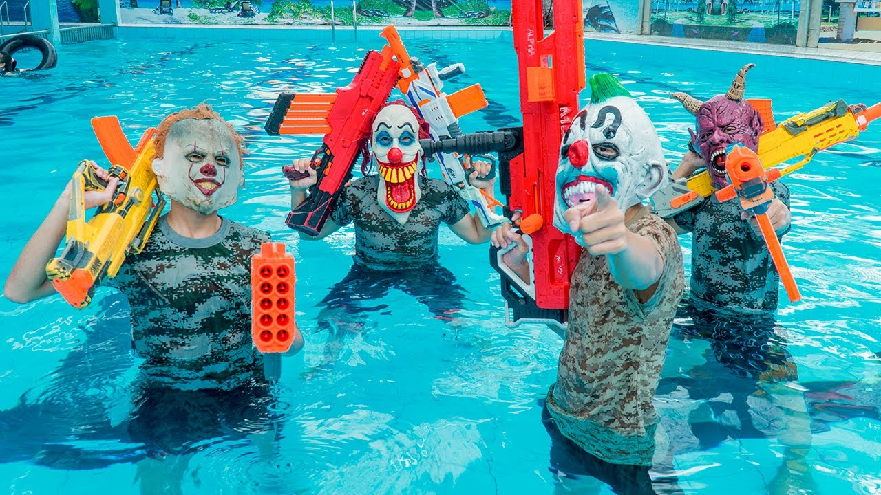 MASK Nerf War : Police ALPHA Nerf Guns Go Swimming Fight Crime Group Mask Intrusion