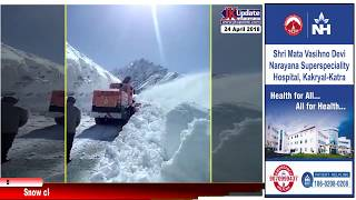 Snow clearance in full swing after a spell of fresh snowfall at Zojila pass