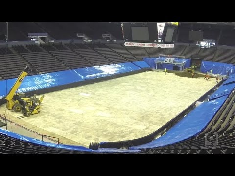 Time-lapse: 3,000 Tons Of Dirt Dumped Onto The Floor Of U.S. Bank Arena For AMSOIL Arenacross
