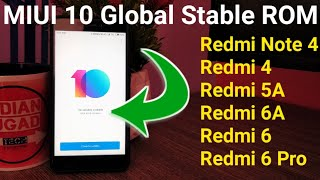 MIUI 10 Global Stable ROM Update for Redmi Note 4,Redmi 4,Redmi 5A,Redmi 6,Redmi 6A,Redmi 6 Pro