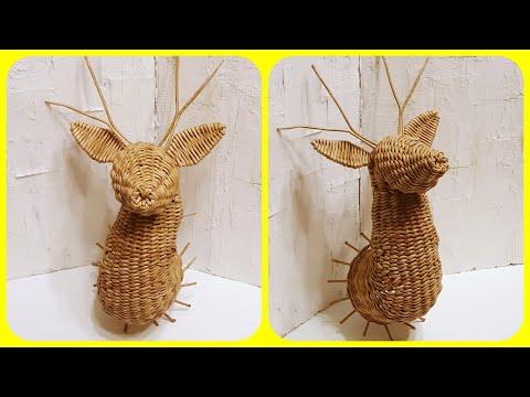 плетем оленя из газетных трубочек 3 трансляция плетение