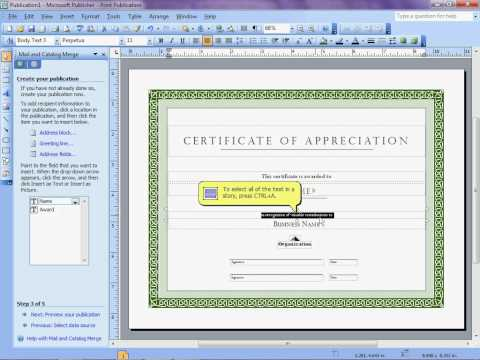 Mail Merge to Microsoft Publisher