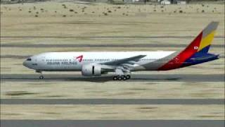 FSX: Boeing 777-200ER Asiana Airlines Landing @ Incheon Airport, Seoul, South Korea