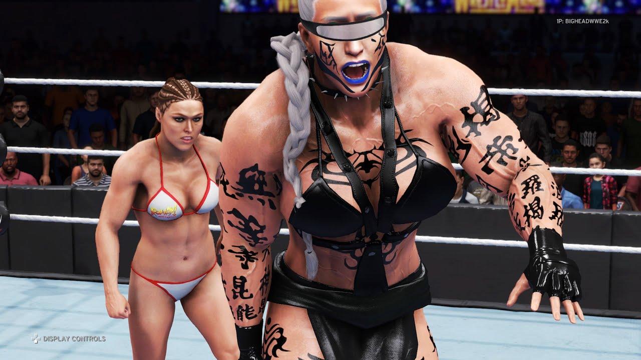 WWE 2K20 - Ronda Rousey vs. Assassin Otunga - Bikini Girl Fights 💜
