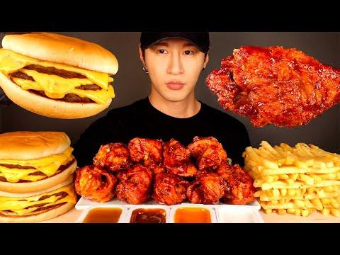 ASMR MUKBANG BBQ CHICKEN & TRIPLE CHEESEBURERS & GARLIC FRIES (No Talking) EATING SOUNDS | Zach Choi
