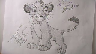 How to draw Young Simba