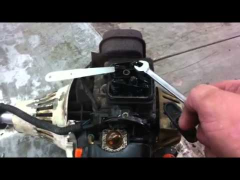 STIHL TRIMMER REPAIR how to adjust the valves on a 4mix stihl trimmer