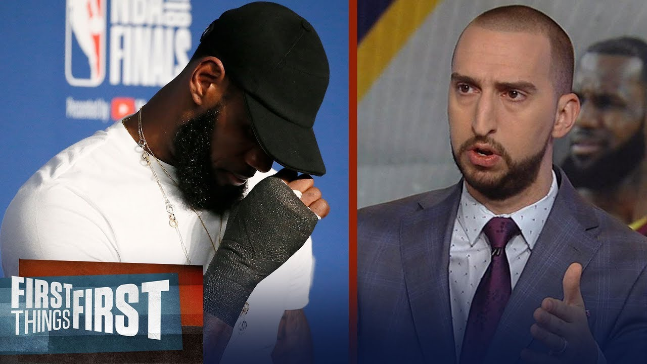 Nick Wright on LeBron's hand injury post-Game 1 costing The King a ring | NBA | FIRST THINGS FIRST
