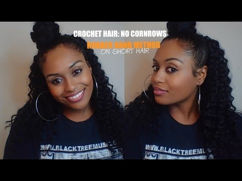 CROCHET HAIR: NO CORNROWS-RUBBER BAND METHOD (ON SHORT HAIR)
