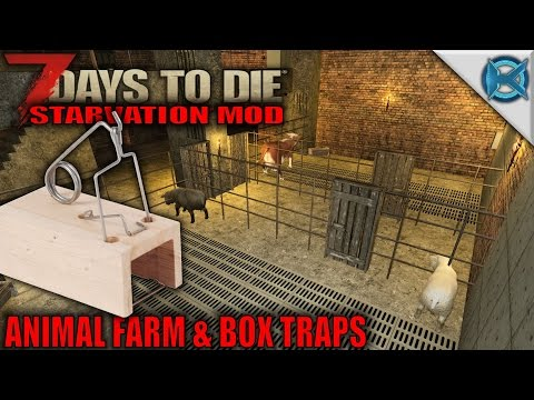 7 Days to Die Mod - Animal Farm & Box Traps - SP Let's Play Starvation Mod Gameplay - S01E23 - 동영상