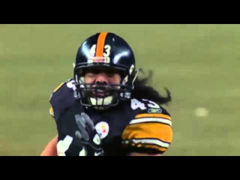 Troy Polamalu flying tackle