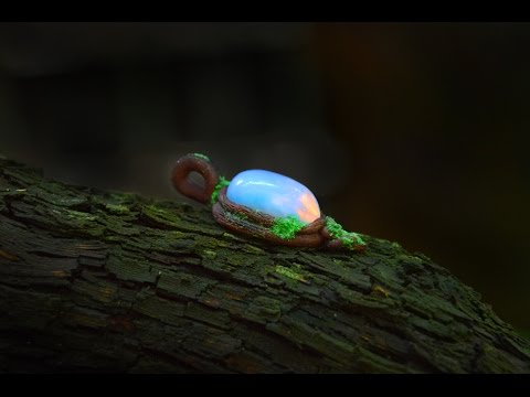 Fantasy Forest Spirit pendant with real opalite  - polymer clay tutorial