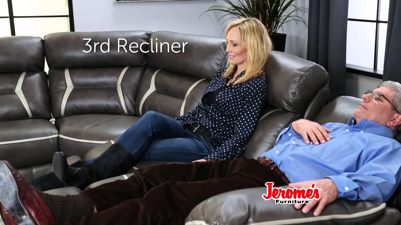 Jeromeu0027s Furniture Maddox Reclining Sectional   YouTube