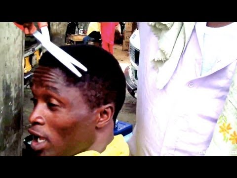 FUNNY: cheapest hair-cut in Nigeria... for under $1 ... (African Fashion)