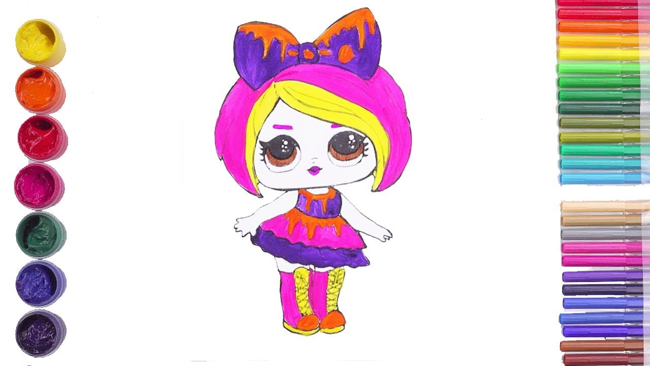 Lol dolls hair goals coloring pages for kids rainbow art