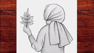 Başörtülü Kız Çizimi - Kapalı Güzel Kız Nasıl Çizilir - Tesettürlü Kız Çizimi - Karakalem Çizimleri