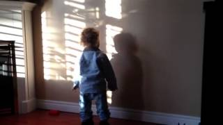 Baby sees shadow for the first time - Funny