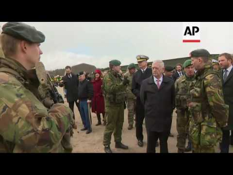 Mattis in Lithuania, Meets NATO troops