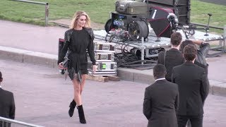 Vincent Gallo, Rosie Huntington-Whiteley and more arrive in style at the Saint Laurent Show in Paris
