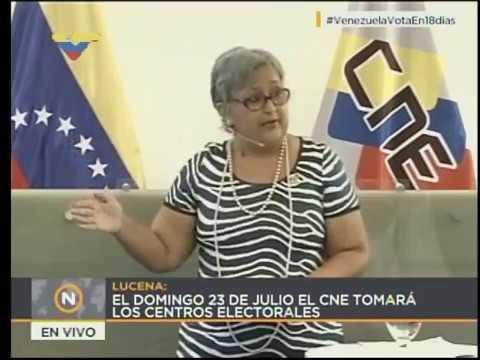 Rueda de prensa de Tibisay Lucena sobre las Ferias Electorales, 12 julio 2017