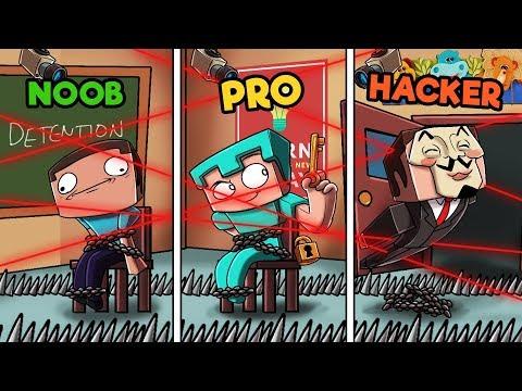 Minecraft - NOOB PRO HACKER - ESCAPE SCHOOL DETENTION!