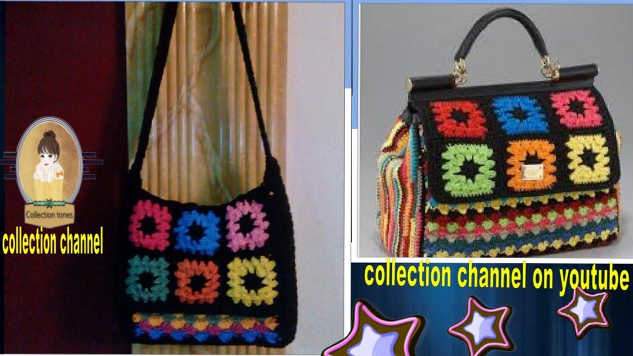 a75f35e2b37e0 كروشيه شنطه نسائيه بموديل مشهور - سهله للمبتدئين crochet cross bag   كولكشن  collection