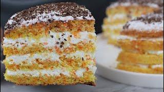 Нежный морковный торт с творожным кремом Яркий осенний тортик