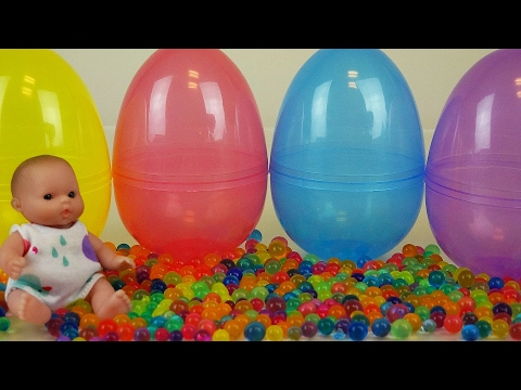 Thumbnail: Baby Doll Surprise eggs Orbeez Frozen toys and Kinder Joy