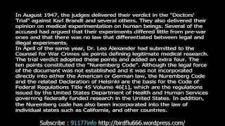 THE NUREMBERG CODE LAW IS ABOUT TO BE BROKEN !