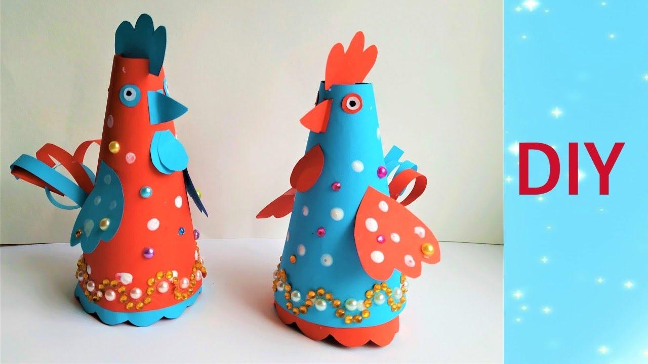 Простые курочки из бумаги своими руками.DIY a hen.