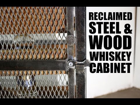 Industrial Reclaimed Steel & Barn Wood Whiskey Cabinet
