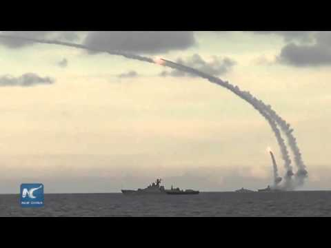 RAW: Russian battleships bombard militant positions in Syria