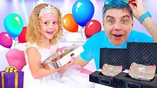 Nastya erhielt zwei Diamantknöpfe und eine Tasche mit Geschenken