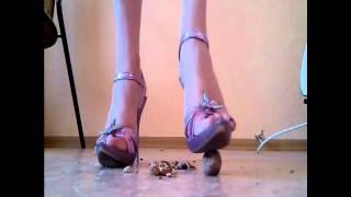 Walnuts crushed under sexy heels