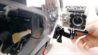 sj4000 action cam on a motorcycle helmet riding footage