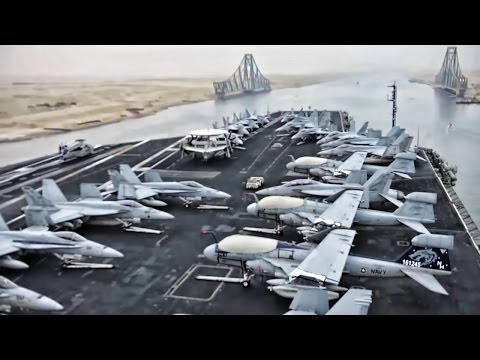 Aircraft Carrier Travels The Suez Canal • Time Lapse View