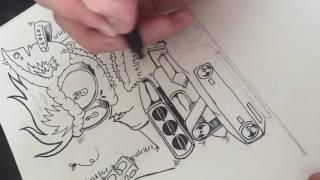 Timelapse illustration of rat fink style monster and 1968 camaro