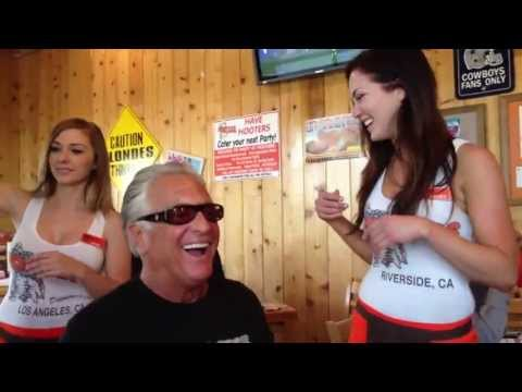 Barry having a blast w the Hooters Girls