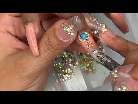 Acrylic Nails Tutorial | Nude Bling Nails