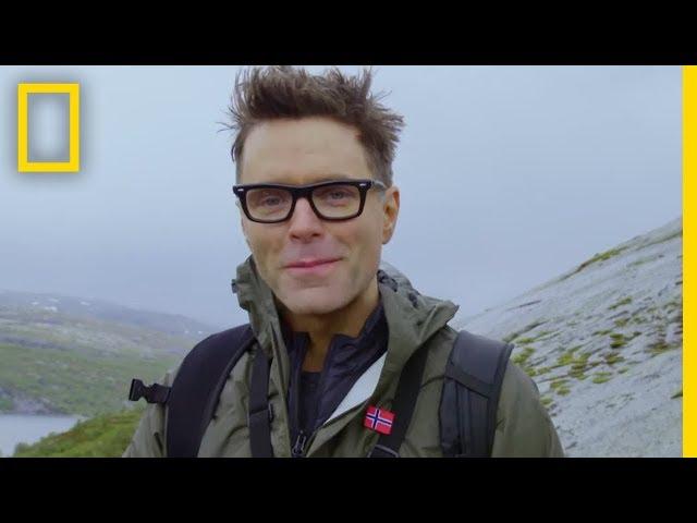 Bobby Bones Descends a Slippery Cliff | Running Wild With Bear Grylls