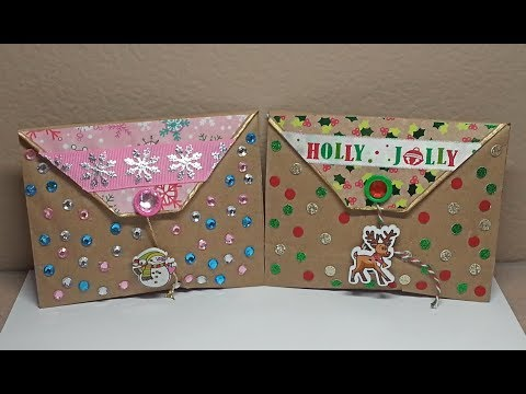 DIY~Cute Christmas Chocolate & Coffee Treat Pouch Made From Paper Bag!