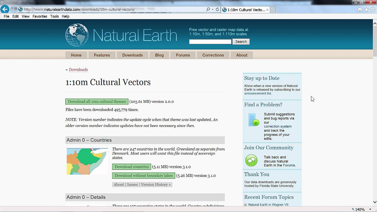 Download Natural Earth Data and Preview in ArcMap