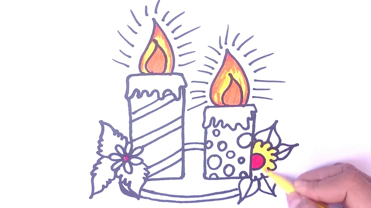 How To Draw Candles,Cake | Candles Colouring Pages   Candles For Kids And  Children