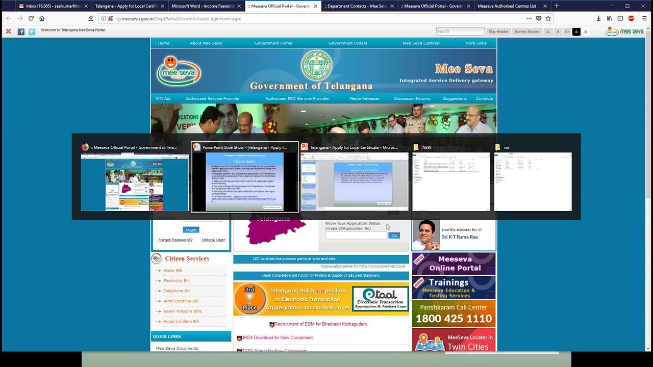 Telangana - Apply for Local Certificate