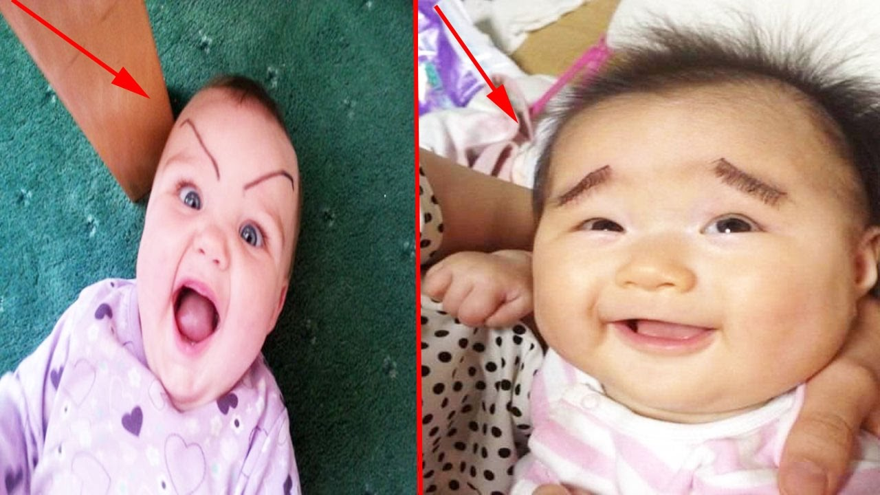 Funniest Babies With Drawn On Eyebrows Cuteness Overloaded Youtube