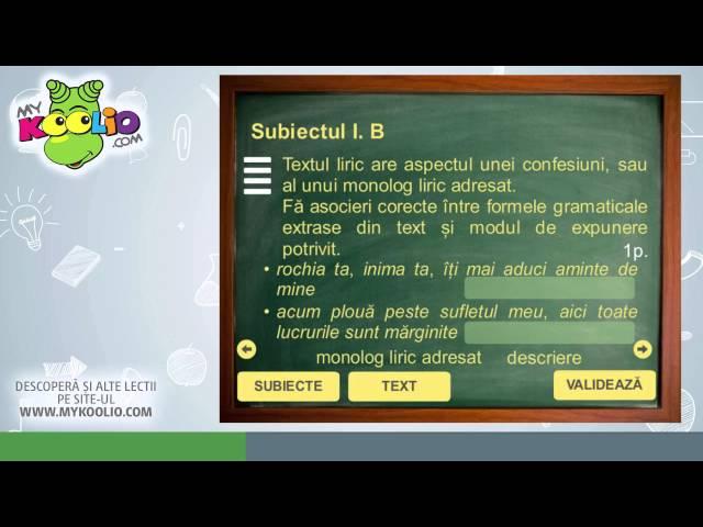 Test de limba română în vederea pregătirii pentru Evaluarea Națională 2016.