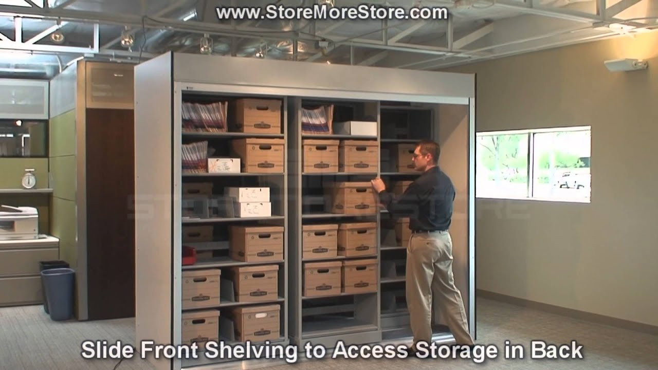 office storage unit. Large Office Storage Cabinet | Remote Controlled Doors With Sliding Shelving Units - YouTube Unit R