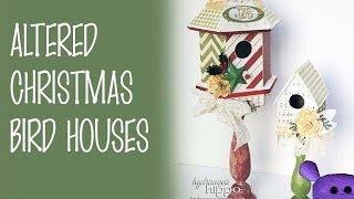 Altered Christmas Bird Houses Diy Featuring Heidi Swapp And Xyron
